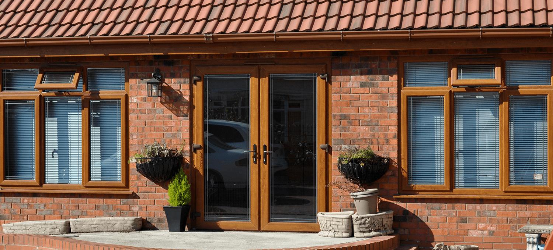 Wooden colour upvc window