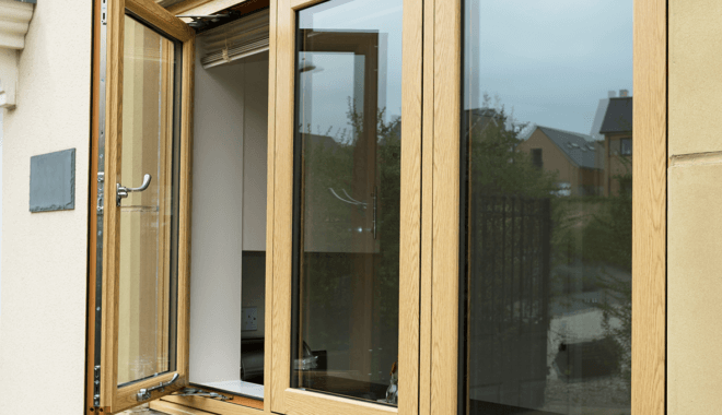 Windows in wood colour