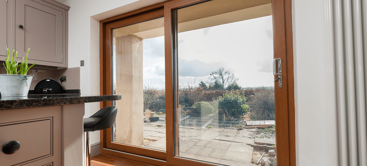 brown coloured sliding window