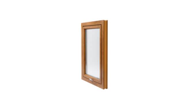 Fully reversible window in oaken colour